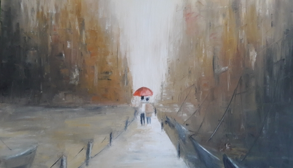 Caminantes bajo la lluvia