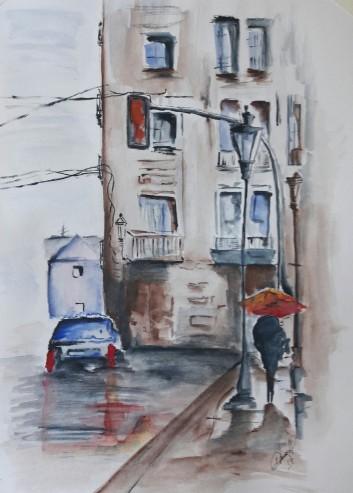 Caminando por la ciudad un dia lluvioso