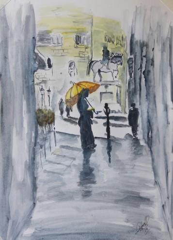 la Chica del paraguas amarillo